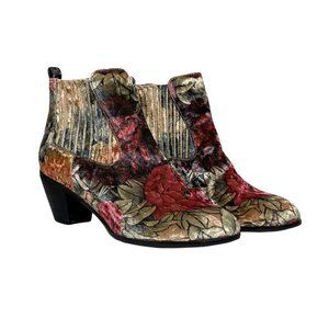 Socofy Handmade Floral Chelsea Ankle Boots